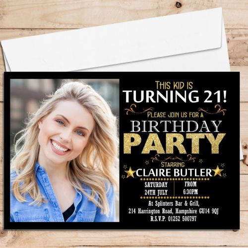 10 Personalised Birthday Party PHOTO Invitations N213 Black & Gold Sparkle Star ANY AGE